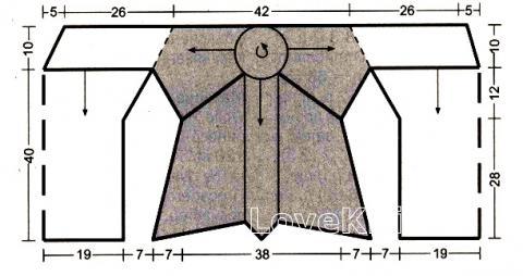 Схема вязания топ с ажурным рисунком на спине раздел вязание спицами для женщин кофты спицами женские