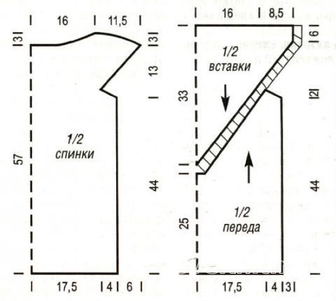 Схема вязания топ с коротким рукавом со вставкой из ленты раздел вязание спицами для женщин кофты спицами женские