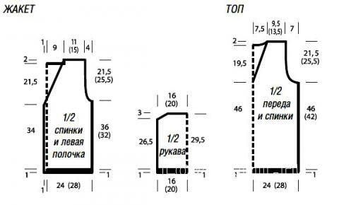 Схема вязания топ с v-образным вырезом и ажурный жакет раздел вязание спицами для женщин кофты спицами женские
