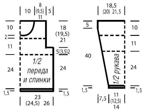 Схема вязания трехцветный джемпер в полоску раздел вязание спицами для женщин кофты спицами женские