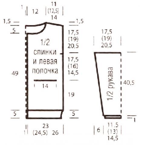 Схема вязания трехцветный кардиган с карманами раздел вязание спицами для женщин кофты спицами женские