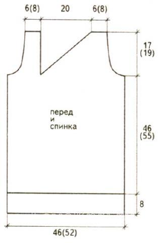 Схема вязания туника с асимметричным вырезом раздел вязание спицами для женщин кофты спицами женские