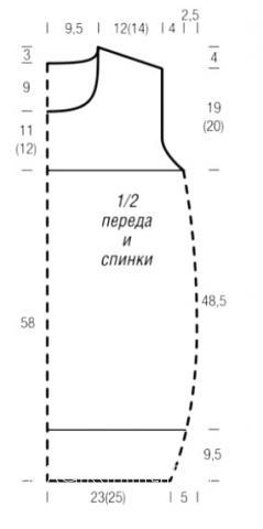 Схема вязания туника в полоску без рукавов раздел вязание спицами для женщин кофты спицами женские