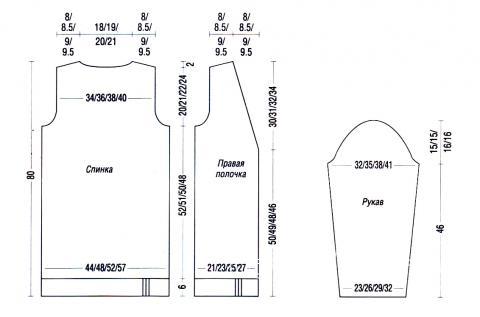 Схема вязания удлиненная кофта с карманами раздел вязание спицами для женщин кофты спицами женские