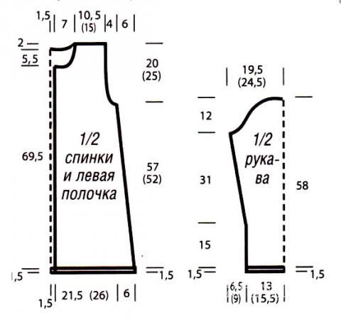 Схема вязания удлиненный бирюзовый жакет с узором раздел вязание спицами для женщин кофты спицами женские