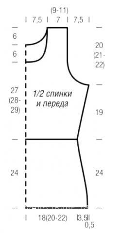 Схема вязания удлиненный двухцветный топ и жакет раздел вязание спицами для женщин кофты спицами женские