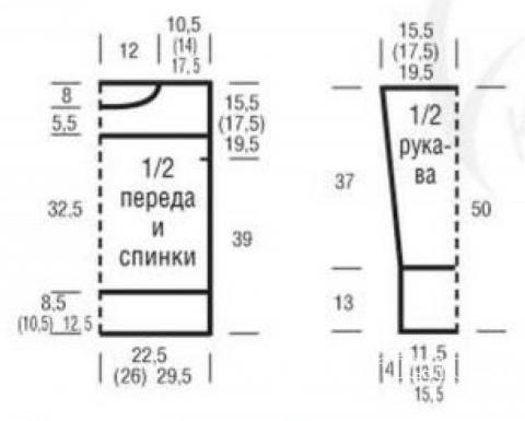 Схема вязания удлиненный джемпер с ажурными узорами раздел вязание спицами для женщин кофты спицами женские