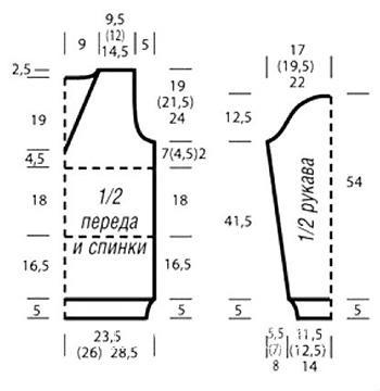 Схема вязания удлиненный джемпер с глубоким v-образным вырезом раздел вязание спицами для женщин кофты спицами женские