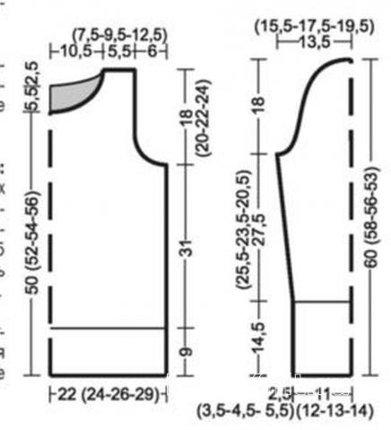 Схема вязания удлиненный джемпер с пайетками раздел вязание спицами для женщин кофты спицами женские