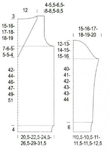 Схема вязания удлиненный джемпер с v-образным вырезом и косами раздел вязание спицами для женщин кофты спицами женские