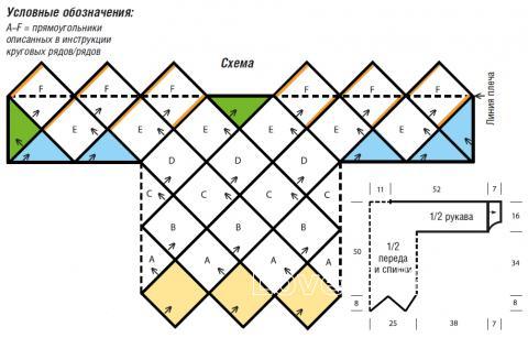 Схема вязания удлиненный джемпер в технике энтрелак раздел вязание спицами для женщин кофты спицами женские