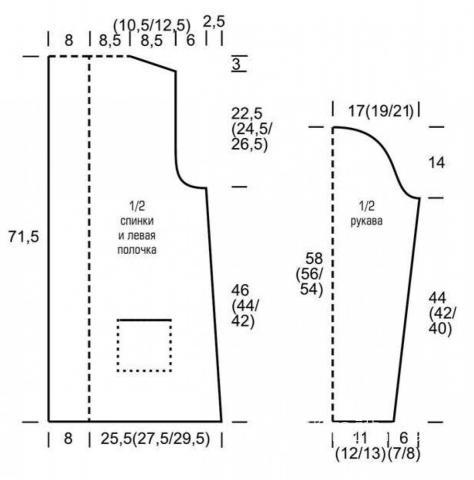 Схема вязания удлиненный кардиган с карманами и атласным поясом  раздел вязание спицами для женщин кофты спицами женские