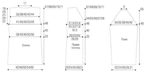 Схема вязания удлиненный кардиган с воротником-стойкой раздел вязание спицами для женщин кофты спицами женские