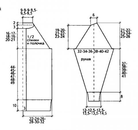 Схема вязания удлиненный кардиган с жаккардовым узором и шапочка раздел вязание спицами для женщин кофты спицами женские