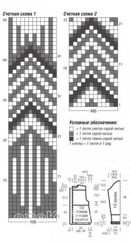 Схема вязания удлиненный кардиган с жаккардовыми бордюрами раздел вязание спицами для женщин кофты спицами женские