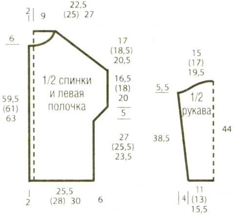 Схема вязания удлиненный кардиган с жемчужным узором раздел вязание спицами для женщин кофты спицами женские