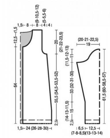 Схема вязания удлиненный полосатый кардиган с круглым воротником раздел вязание спицами для женщин кофты спицами женские