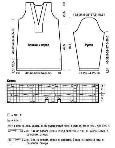 Схема вязания удлиненный пуловер бежевого цвета раздел вязание спицами для женщин кофты спицами женские