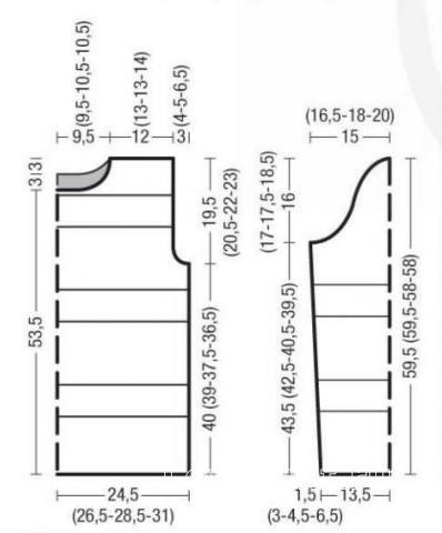 Схема вязания удлиненный пуловер с графическим рисунком раздел вязание спицами для женщин кофты спицами женские
