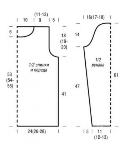 Схема вязания удлиненный пуловер с крупными «косами» и снуд раздел вязание спицами для женщин кофты спицами женские