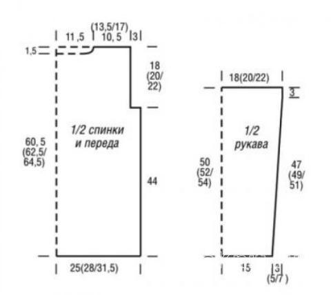 Схема вязания удлиненный пуловер с сетчатым рисунком раздел вязание спицами для женщин кофты спицами женские