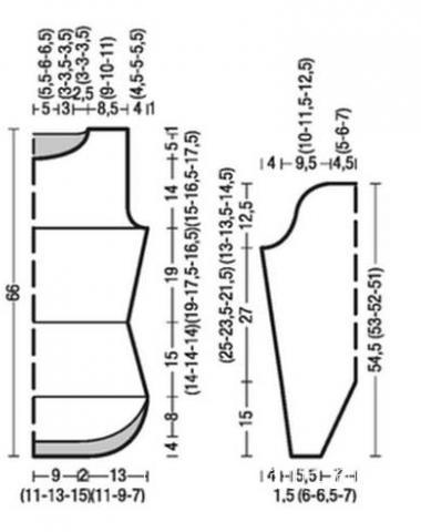 Схема вязания удлиненный пуловер с закругленными краями раздел вязание спицами для женщин кофты спицами женские