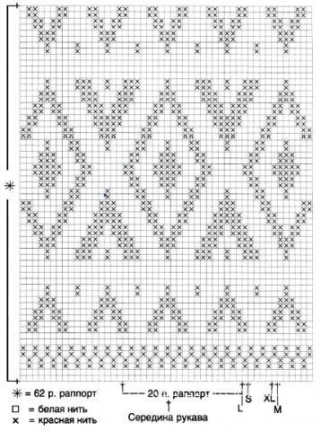 Схема вязания удлиненный свитер с цветным узором раздел вязание спицами для женщин кофты спицами женские