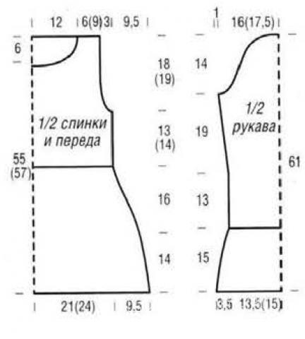 Схема вязания удлиненный свитер с косами раздел вязание спицами для женщин кофты спицами женские
