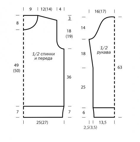Схема вязания удлиненный свитер с ромбами и косами раздел вязание спицами для женщин кофты спицами женские