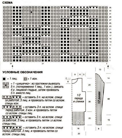 Схема вязания удлиненный свитер раздел вязание спицами для женщин кофты спицами женские
