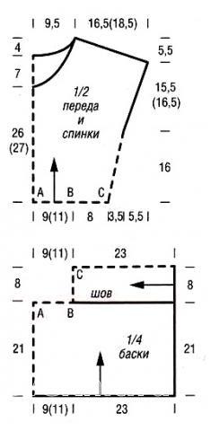 Схема вязания удлиненный топ с баской раздел вязание спицами для женщин кофты спицами женские
