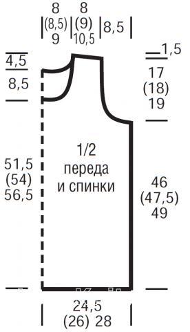 Схема вязания удлиненный топ декорированный дырочками раздел вязание спицами для женщин кофты спицами женские