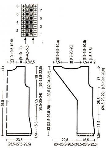 Схема вязания удлиненный топ с вырезом на спине  раздел вязание спицами для женщин кофты спицами женские
