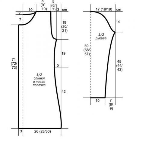 Схема вязания удлиненный жакет с воротником-стойкой раздел вязание спицами для женщин кофты спицами женские