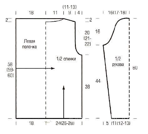 Схема вязания удлиненный жакет с вытянутыми петлями раздел вязание спицами для женщин кофты спицами женские