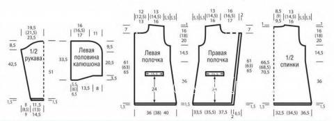 Схема вязания удлиненый жакет с карманами и капюшоном раздел вязание спицами для женщин кофты спицами женские