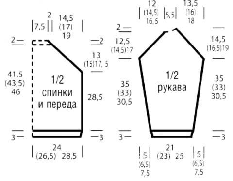 Схема вязания укороченный джемпер в полоску с патентным узором раздел вязание спицами для женщин кофты спицами женские