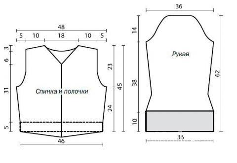 Схема вязания укороченный кардиган с расклешенными рукавами раздел вязание спицами для женщин кофты спицами женские