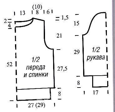 Схема вязания укороченный пуловер с вырезом лодочка раздел вязание спицами для женщин кофты спицами женские