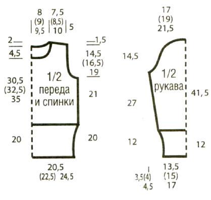 Схема вязания укороченный свитер с узором «гусиная лапка» раздел вязание спицами для женщин кофты спицами женские