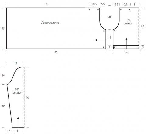 Схема вязания укороченный свободный кардиган с запахом раздел вязание спицами для женщин кофты спицами женские