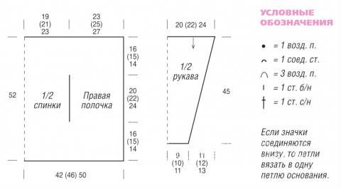 Схема вязания укороченный свободный жакет без застежек раздел вязание спицами для женщин кофты спицами женские