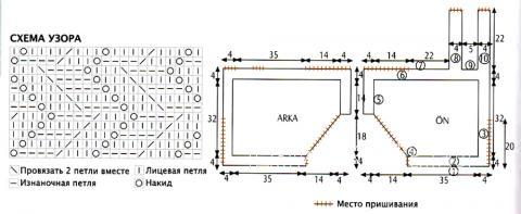 Схема вязания укороченный топ с ассиметричным вырезом раздел вязание спицами для женщин кофты спицами женские