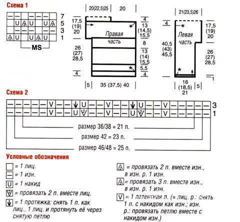 Схема вязания узорчатый топ с коротким рукавом  раздел вязание спицами для женщин кофты спицами женские