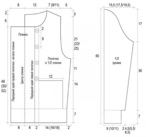 Схема вязания жакет с асимметричным кроем и шапка раздел вязание спицами для женщин кофты спицами женские