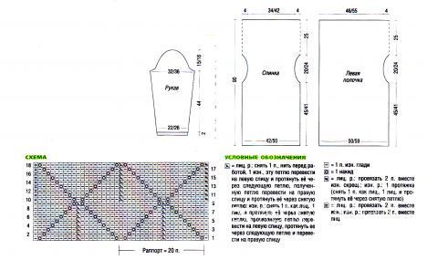 Схема вязания жакет с ассиметричной длиной раздел вязание спицами для женщин кофты спицами женские