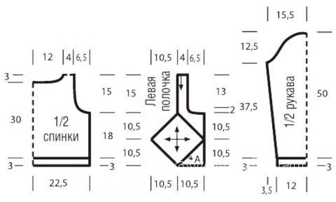 Схема вязания жакет с глубоким вырезом с ромбами раздел вязание спицами для женщин кофты спицами женские