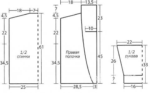 Схема вязания жакет с контрастной отделкой раздел вязание спицами для женщин кофты спицами женские