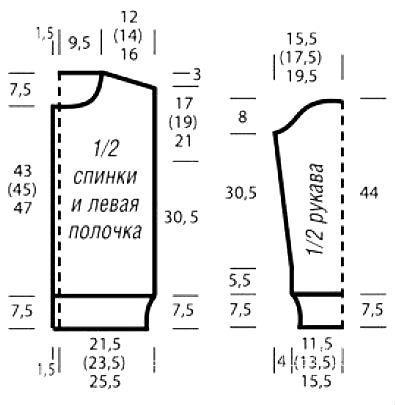 Схема вязания жакет на молнии с контрастными планками раздел вязание спицами для женщин кофты спицами женские