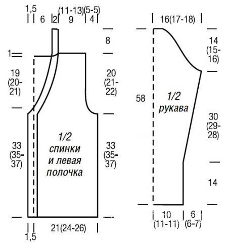 Схема вязания жакет с накладными карманами раздел вязание спицами для женщин кофты спицами женские